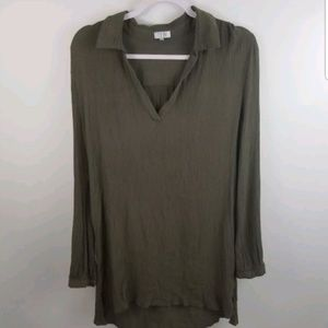 Tobi Juniors Tunic Medium Olive V Neck Blouse Top